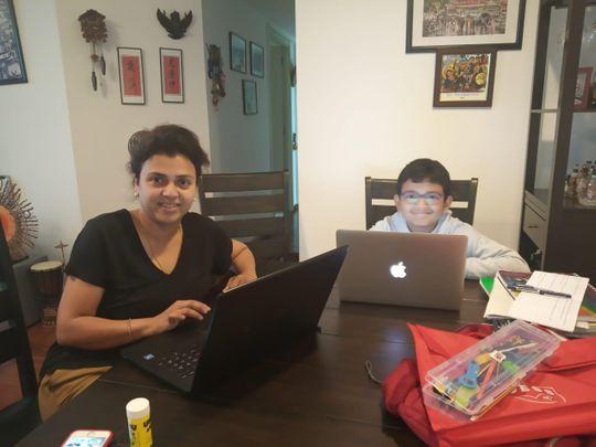Esha Nag with her son Aadit