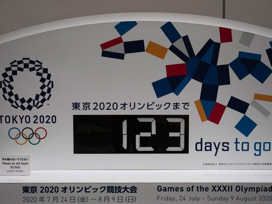 A countdown clock for the Tokyo 2020 Olympics in Tokyo