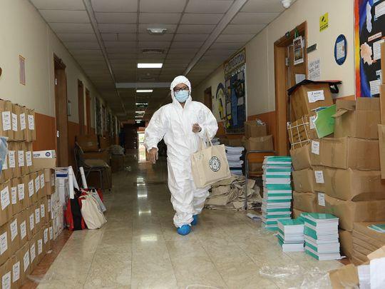 UAE school deliveries in hazmat suits