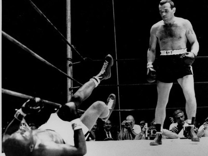 ngemar Johansson stands over the fallen Floyd Patterson in their 1959 heavyweight title fight. at Yankee Stadium in New York. Johansson, from Sweden, became only the fifth heavyweight champion born outside the United States. (Associated Press)
