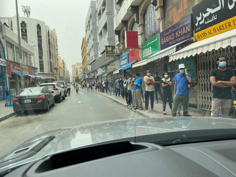 Residents of Naif queuing ahead of tests in Dubai on Saturday
