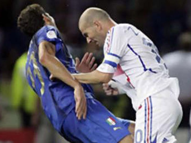 Zinedine Zidane headbutts Italy defender Marco Materazzi during the 2006 World Cup final