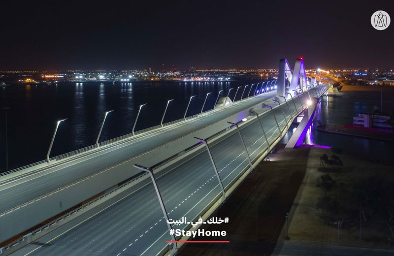empty Zayed Bridge in Abu Dhabi