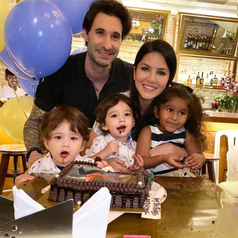 Daniel Weber and Sunny Leone with their kids