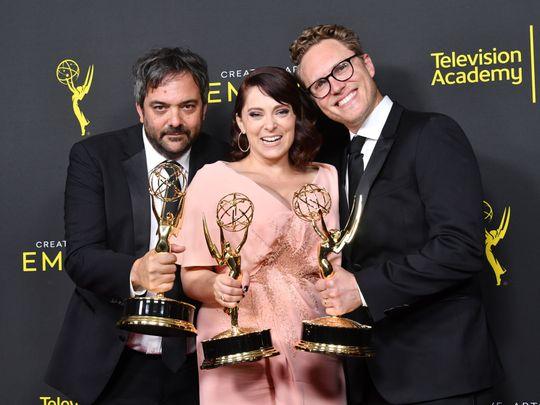 Adam Schlesinger with Rachel Bloom and Jack Dolgen