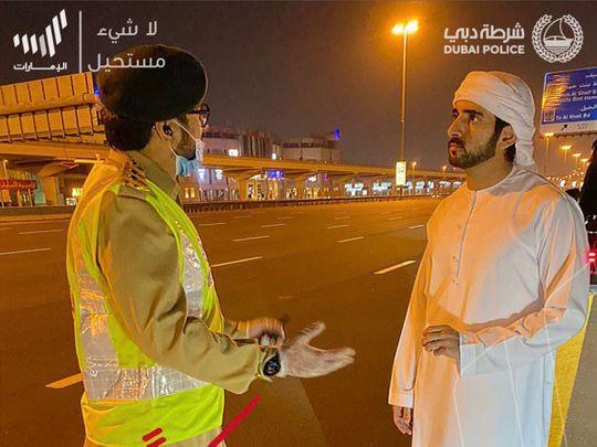 Sheikh Hamdan during curfew in Dubai