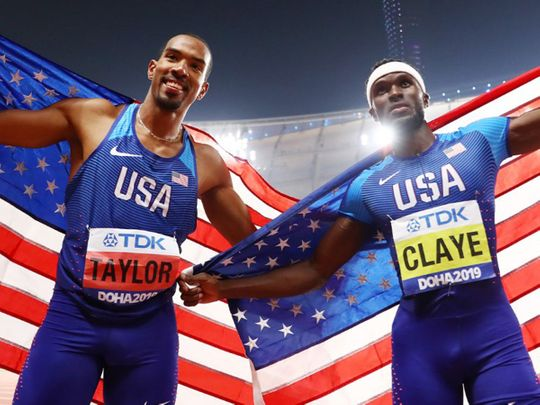Will Claye (right) and his teammate and gold medalist Christian Taylor at the 2019 Worth Track and Field Championships