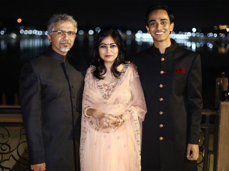 A family photo of Dubai mum Yogita Shanker, 51, with her husband, 53, and son Tanishk, 22
