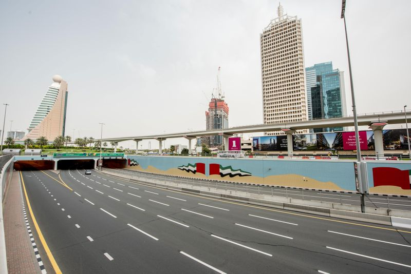 Empty streets in Dubai during the 24-hour sterilisation programme