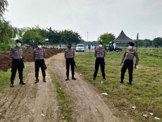 Indonesia police cemetery