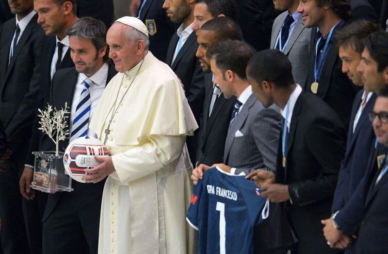 Pope Francis, an avid soccer fan, met with organisers, players and guests of the inter religious 'match for peace' football game, played the same evening at Rome's Olympic Stadium.