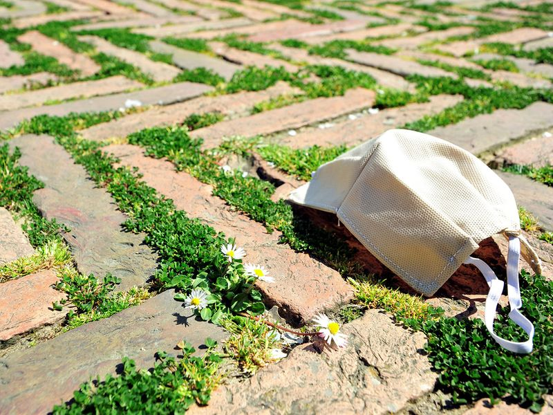 A protective face mask lays amid grass on the Piazza del Campo, that hosts the Palio di Siena horse race twice a year, which has grown only since a strict lockdown has meant crowds of tourists and Italians can no longer visit the square, as the spread of the coronavirus disease (COVID-19) continues, in the medieval city of Siena, Italy, April 9, 2020. REUTERS/Jennifer Lorenzini