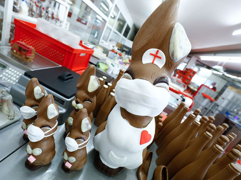 Chocolate Easter Bunnies dressed as a nurse with protective masks and a roll of toilet paper are seen at a chocolate factory in Pirmasens,Germany,as the spread of the coronavirus disease (COVID-19) continues