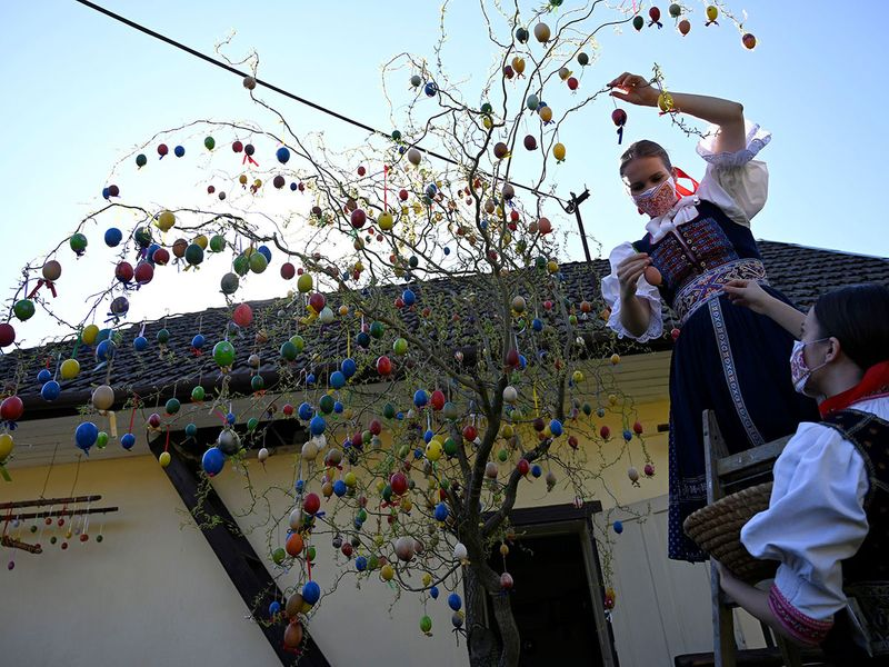 Vanda Mrazikova and Martina Kacenova, dressed in traditional costume with protective face masks, decorate a weeping willow with colored Easter eggs, in the village of Soblahov, Slovakia.