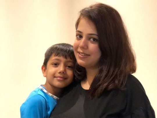 Sanam with six year old son Siddhant at a Sharjah hotel where they are quarantined