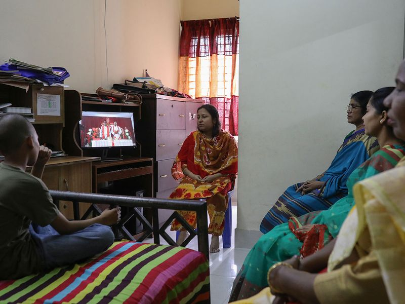 A christian family takes part in Easter Sunday prayer through Facebook live broadcasted by Dhaka Baptist Church, amid concerns over the COVID-19 outbreak in Dhaka, Bangladesh.