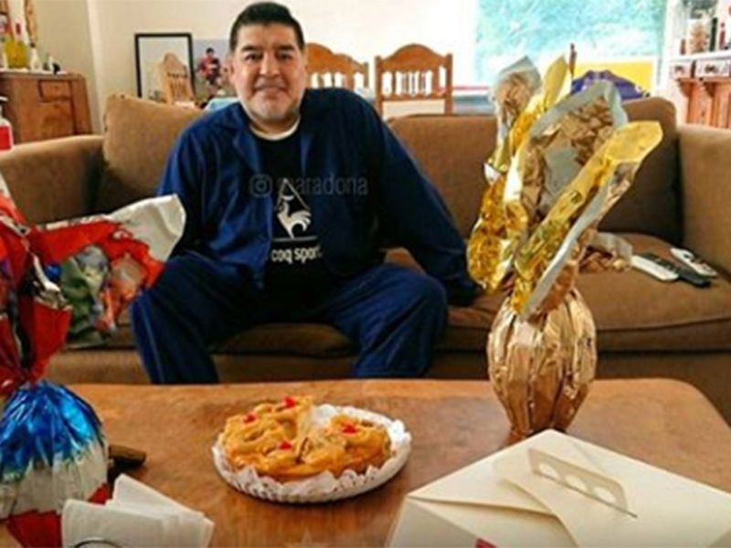 Diego Maradona at home