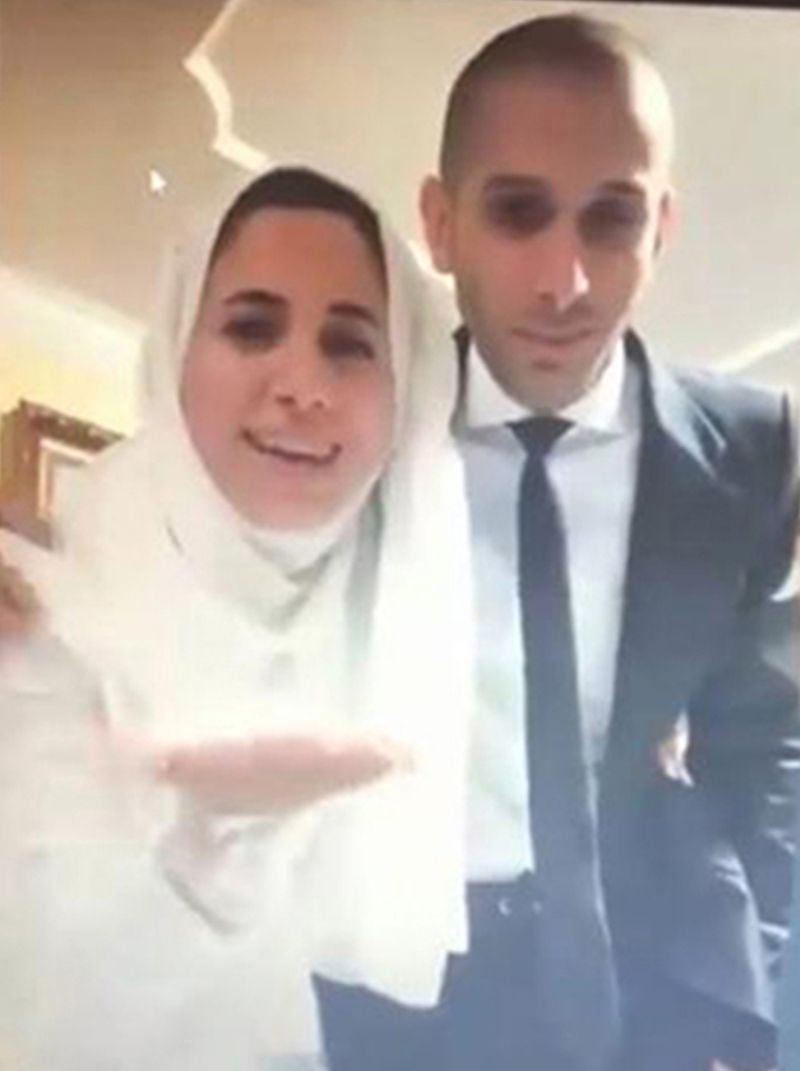 A still from the couple's virtual wedding in Dubai.