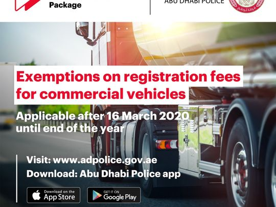 Free registration for commercial vehicles in Abu Dhabi