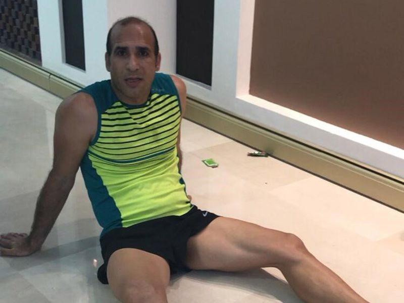 A shattered Morteza after completing his Marathon at Home
