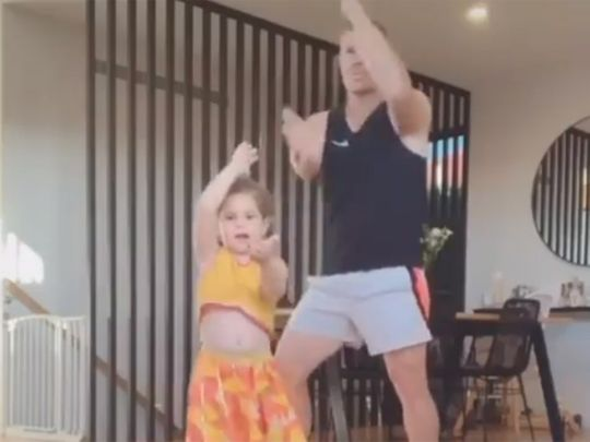 David Warner dancing with his daughter Indi