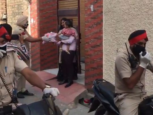 Punjab police celebrate the birthday of a 1-year-old