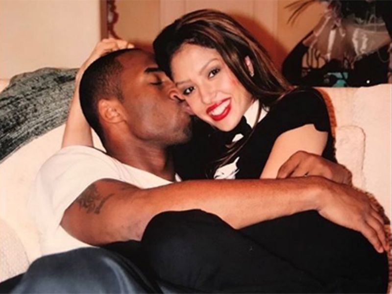 A young Kobe and Vanessa Bryant