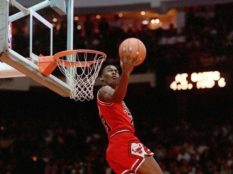 Michael does his classic Air Jordan move