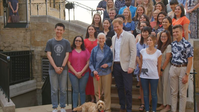 Dr Jane Goodall with Prince Harry