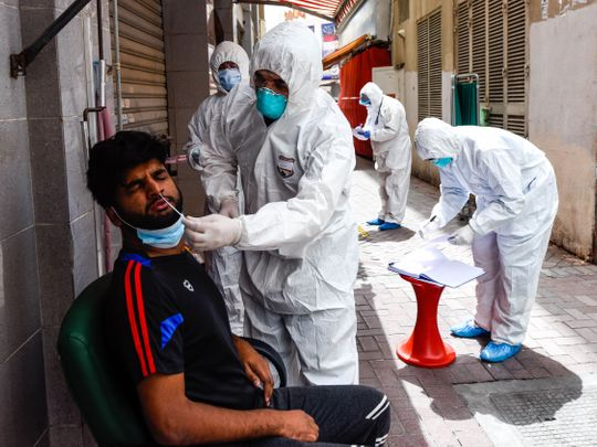 Healthcare workers conduct coronavirus testing in Dubai's Naif district