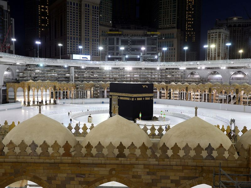 A general view of empty Kaaba at the Grand Mosque during the holy month of Ramadan, in the holy city of Mecca, Saudi Arabia.