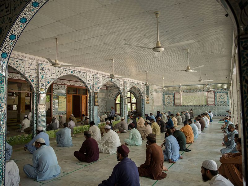 People gather for prayer during Ramadan at Jamia Mosque in Islamabad. Pakistan has allowed congregation prayers in mosques during the holy month of Ramdan.  The government has issued clerics guidelines to follow on social distancing while praying in mosques.