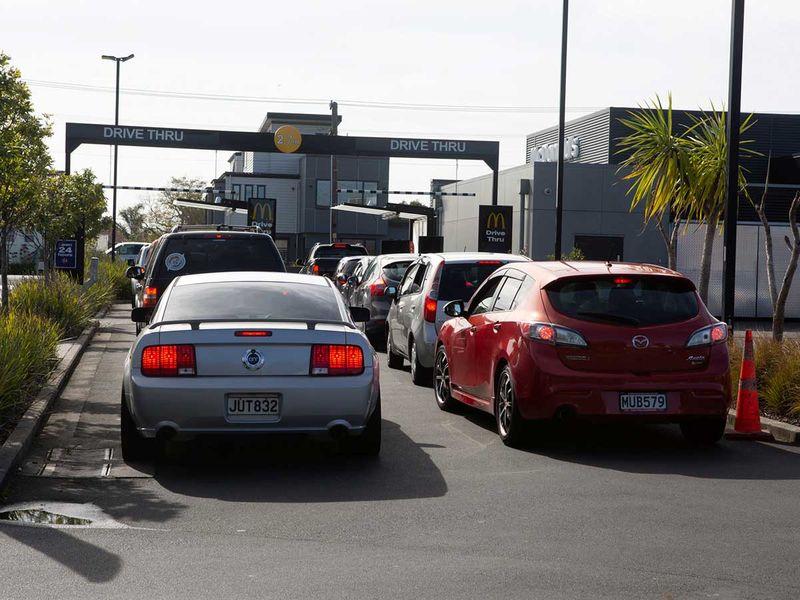 New Zealand restrictions lockdown McDonalds cars drive through