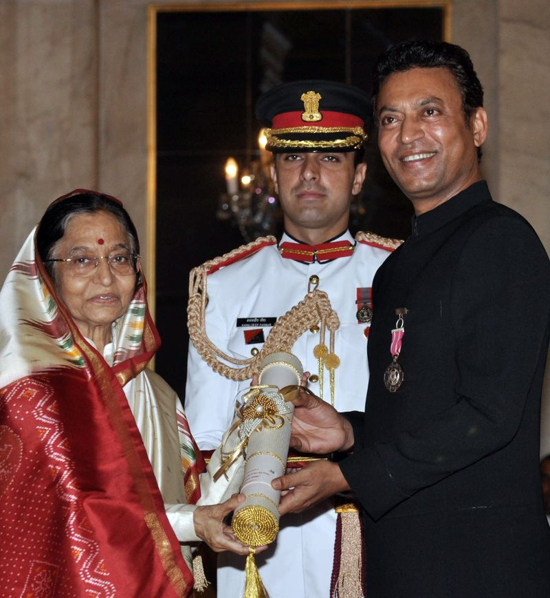 Irrfan Khan winning the Padma Shri