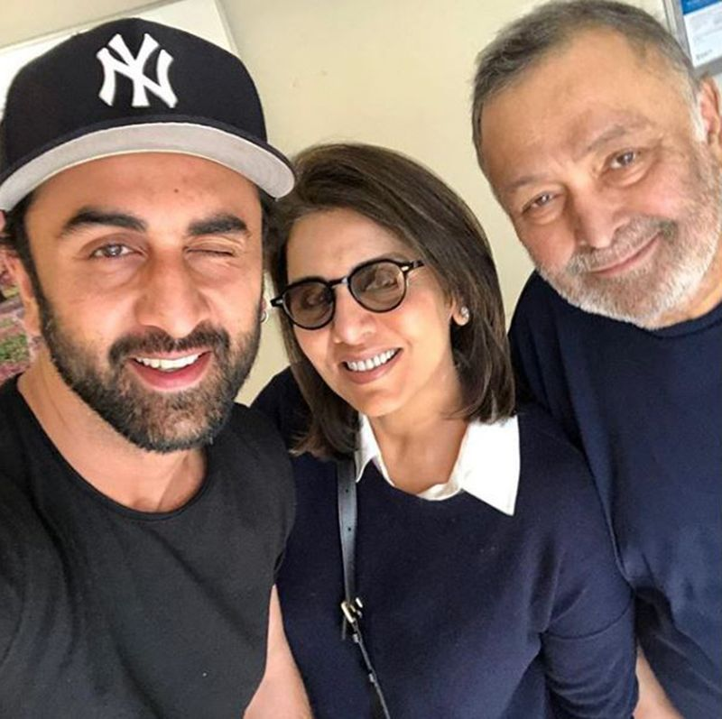 Rishi Kapoor with wife Neetu and son Ranbir