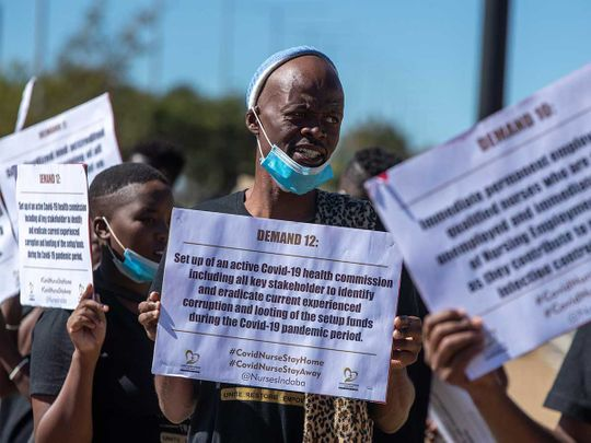 South Africa protest coronavirus health workers