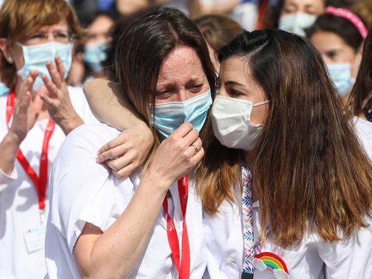 Spain hospital health workers