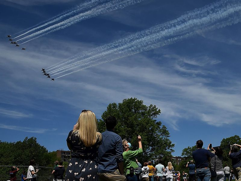 Military jets fly over US cities to salute frontline workers