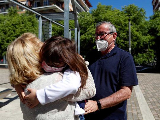 Italy lockdown ease embrace granddaughter