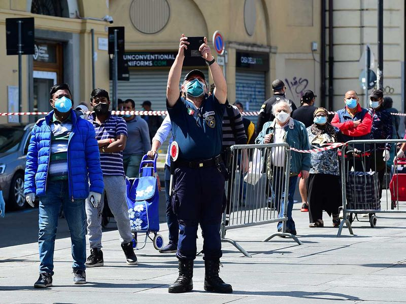Turin Italy face mask police