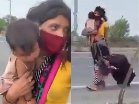 Viral video shows poor migrant labourer walking 1200 kms