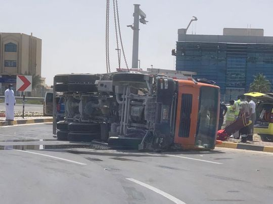 Cement mixer rolls onto a car killing a mother and son in Abu Dhabi