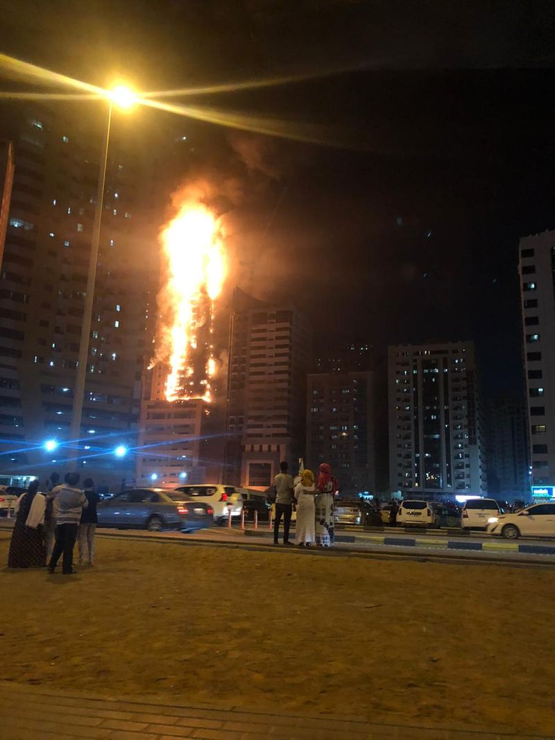 Tower fire in Sharjah