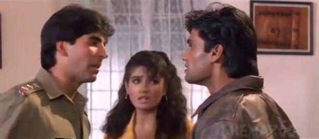 Akshay Kumar, Sunil Shetty, and Raveena Tandon in Mohra (1994)-1588749478459