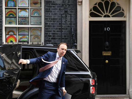 Britain's Health Secretary Matt Hancock arrives in Downing Street