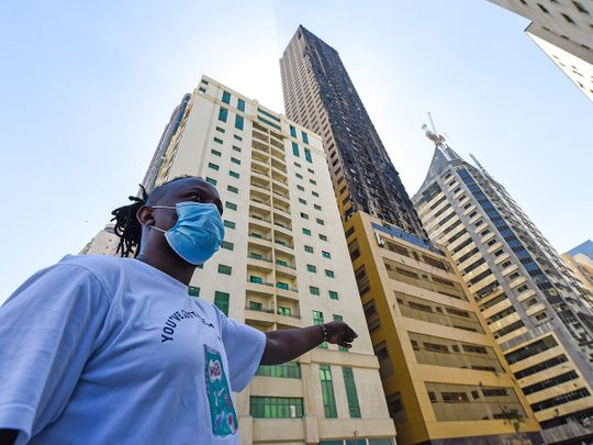 Dennis Ngugi, a resident of the Abbco Tower in Al Nahda, Sharjah which caught fire on Tuesday night. Photo : Virendra Saklani/Gulf News