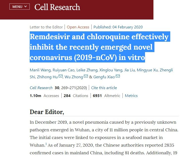 Remdesivir and Chloroquine Cell Research
