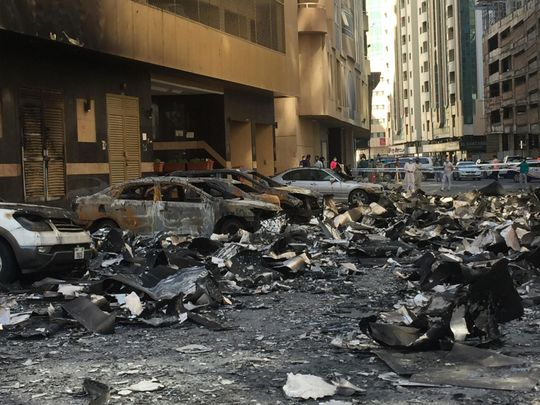 Wreckage below the Abbco Tower in Sharjah after Tuesday's fire