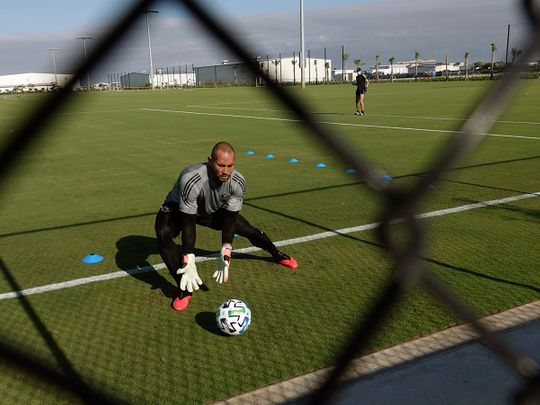 Inter Miami MLS soccer team goalkeeper Luis Robles practices at the team's training facility in Fort Lauderdale, Fla., Wednesday, May 6, 2020. (Joe Cavaretta/South Florida Sun-Sentinel via AP)