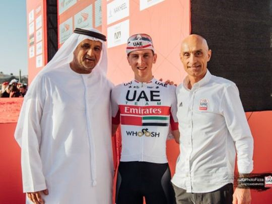 Matar Suhail Al Yabhouni Al Dhaheri, UAE Team Emirates President, Tadej Pogacar and Mauro Gianetti, Team Principal & CEO